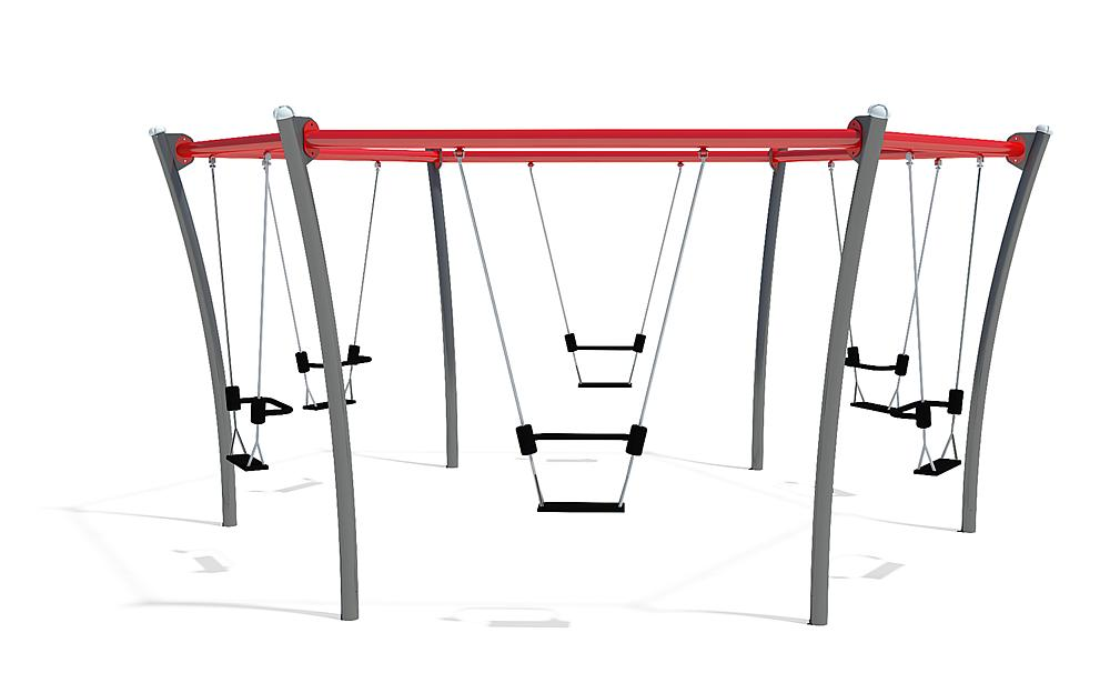Sechsfachschaukel mit Sitzen inkl. Rückhaltebügel