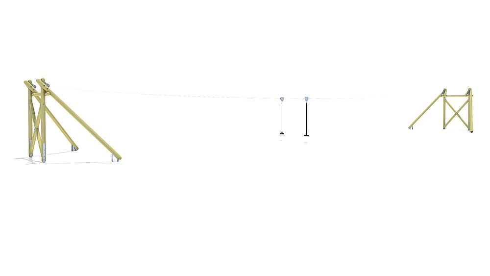 Seilbahn Montana Duo 30 m für Hügelverbau