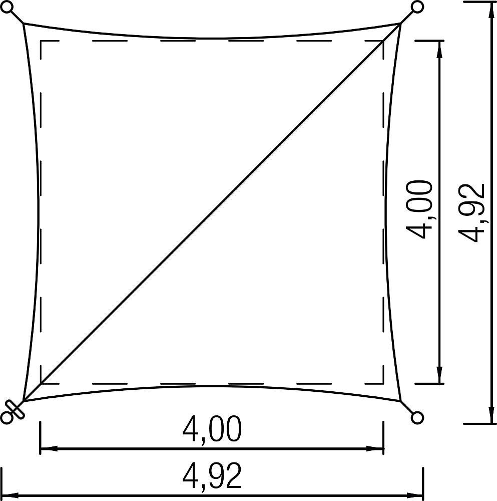 Sonnenschutz Quadrat 4x4 m