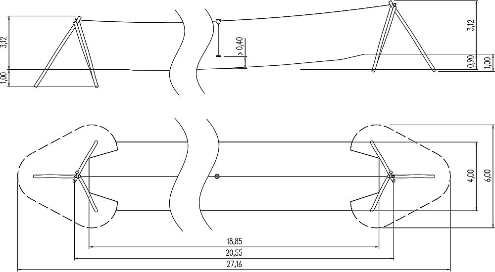 Seilbahn Bardo für Hügelverbau 20 m